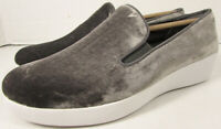 $130 FitFlop Womens Superskate In Velvet Loafer Shoes, Silver, US 7