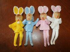 Set 4 Vintage Japan Felt & Wire Easter Bunny Rabbit Dolls Figures Poseable