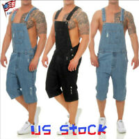 Men Jumpsuits Distressed Denim Carpenter Overalls Bib Biker Jean Shorts Pants US