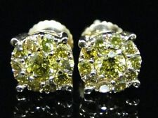 14K Yellow Gold Over Solitaire Look Canary Yellow Diamond Stud Earrings 1 Ct