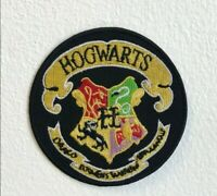 Harry Potter Hogwarts Yellow on Black Round Embroidered Iron Sew on Patch j1584