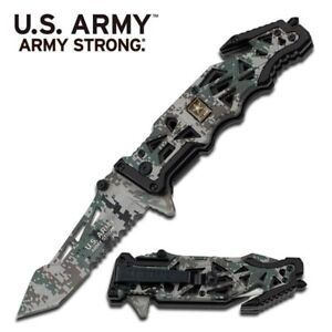 US ARMY Strong WOODLAND Camo Tactical Military Folding Knife Clip Half Serrated