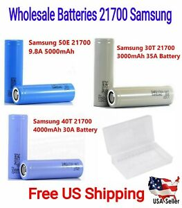Pack 2 x Wholesale Samsung 21700 Rechargeable Battery flat top w/ Free Case