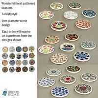 Set of 4 Floral 9cm Round Colourful Turkish Ottoman Mosaic Drinks Coasters Mats