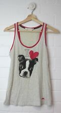 PETER ALEXANDER Grey Mottled Tank Dog Print to Front Pink Ribbing Size XS Size 8
