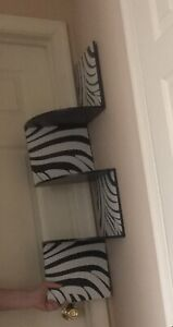 Zebra Corner Wall Shelf Zig Zag Wooden Shelf Zebra Print: Hardware Included