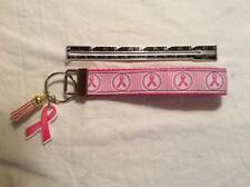 Breast Cancer ribbon Key Chain Fob Wristlet pink ribbon & Suede Tassel