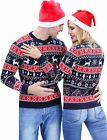 iClosam Couple Ugly Christmas Sweater Reindeer Novelty Sweater Pullover Holiday