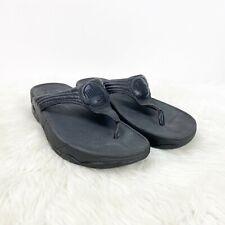Fitflop 9 Womens Black Thong Flip Flop Sandals