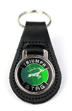 Triumph Stag Green Logo Quality Black Leather Keyring