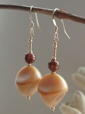 Vintage Caramel Satin Glass & Round Aventurine Glass 14ct Rolled Gold Earrings