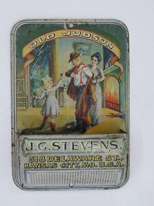 VINTAGE ADVERTISING J.C.STEVENS OLD JUDSON WHISKEY METAL WALL MATCH HOLDER SAFE
