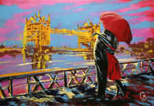 "LOVERS IN LONDON 12x16"" ABSTRACT REALISM ART PRINT"