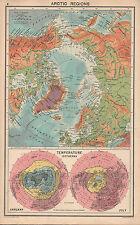 Carte de 1931 ~ régions arctiques pôle nord avec explorations isothermes jan & juillet