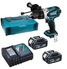Makita DHP458 18v Combi Drill + 2 BL1840 Batteries + DC18RC + Case DHP458RMJ