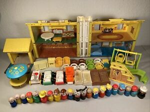 Little People Wooden Lot Yellow House Furniture 1969 Huge Vintage Fisher-Price