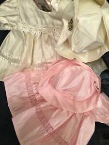 Baby Girls Spanish Dress Pink Cream Christening Satin Bonnet Newborn -12 Months