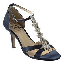 Ladies Navy Blue Satin Wedding Bridal Prom T Bar Diamante Mid Heel Sandals UK 7