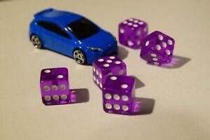 NEW Set of Purple Transparent 16mm Dice 5 Purple D6 RPG Bunco Home CASINO Games
