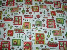 Vtg 50s Mid Century Red Lime Kitchen Small Design Sew Cotton Fabric 35x36 #ff534