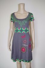 €79 DESIGUAL XS WOMENS DRESS SHORT SLEEVES MIDI MID-CALF FLORAL BUTTERFLY A-LINE