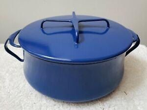 Vintage Dansk France 1HQ Kobenstyle Blue Enamelware Casserole 4 Qt
