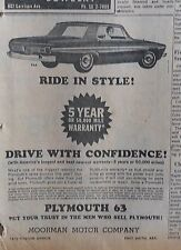 1963 newspaper ad for Plymouth - Ride In style, America's best new car warranty