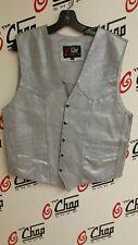 Womens Platinum Silver Leather Front Pocket Vest L