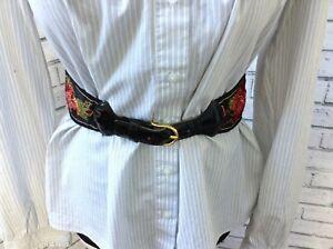 Rare Rose Embroidered Yves Saint Laurent Vintage Wide Waist Belt XS/S