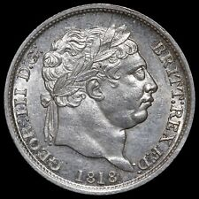 More details for george iii, 1760-1820. shilling, 1818. high 8 in date. rare.