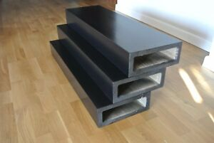 oak stair tread for floating staircase, stained to black and varnished