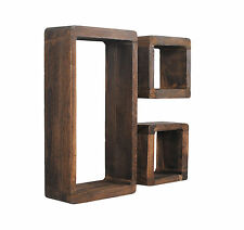 3er Set Lounge Cube Regal Retro Shabby Look Hängeregal Massivholz Dunkelbraun