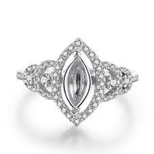 Semi Mount Marquise 10x5mm Diamonds Antique Ring Setting 14k White Gold Jewelry