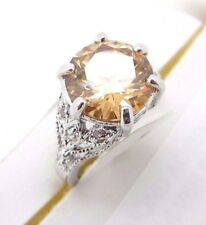 Cubic Zirconia Ring Size 9 Orange Round Solitaire Silver Tone Fancy Band
