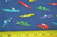 Cars on Navy Cotton Flannel By 1//2 Yd A149