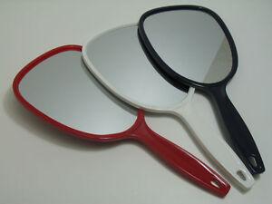 2 x Handspiegel gross 28,5 cm aus 4 Farben wählen Rot Weiß Blau Havanna-Braun