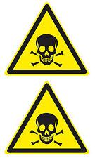 2x Aufkleber Sticker Achtung Giftig Gift Totenkopf Gefahr Warnung Toxic Hinweis