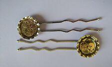 Steampunk Bottle Cap Hair Pins Set Of 2 Handmade