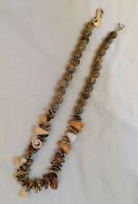 Bohemian Surfer Shell Seed Pod Necklace signed Torq