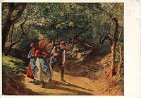 Alte Kunstpostkarte - F.G. Waldmüller - Begegnung im Walde