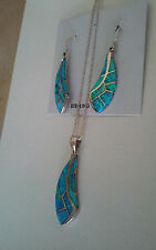 Pendant Necklace Earring Set New Mexico 925 Fine Sterling Silver Green Opal
