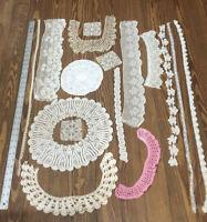 True Vtg Antique Lace Remnants Collar Lot 17 PCs  White Ivory Amin Beder Wedding