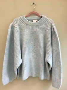JUMPER SIZE 16 LARGE BY TOPSHOP RIBBED SOFT VERY WIDE SLEEVE PASTEL BLUE BNWT