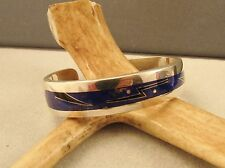 STERLING  SOUTHWEST  LAPIS  INLAY  CUFF  BRACELET--  PRICE  REDUCED--