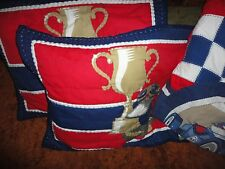 CIRCO VINTAGE RACE CARS TROPHY BLUE RED GOLD (3PC) FULL QUILT & SHAMS BOYS