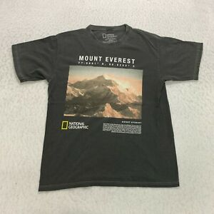 National Geographic Mount Everest T-Shirt Size M Gray Cotton Graphic Mens