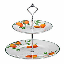 Orange Grove Cake Stand, 2 Tier, Bone China .Tea Party Cupcake By Premier