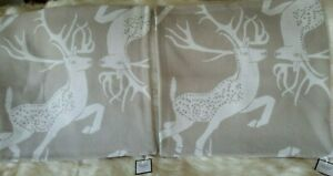 """WILLIAMS SONOMA Sawyer Reversible Lambswool 2  Pillow Covers Taupe 22"""" Stag Deer"""