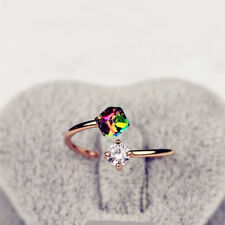 Hot Vintage Color Rhinestone Women Engagement Wedding Party Opening Zircon Rings