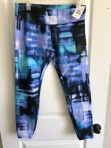 womens multicolor cropped Activewear leggings CALVIN KLEIN Size L NWT